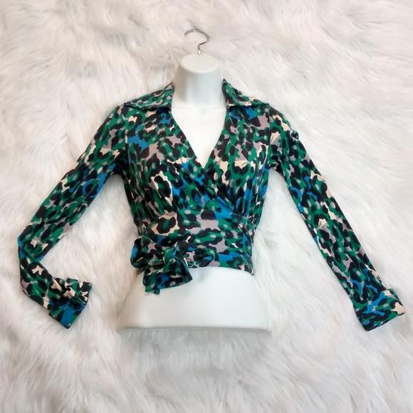 01044c2ecd74 Diane Von Furstenberg Tops   Dvf Leopard Print Judy Wrap Around Crop ...